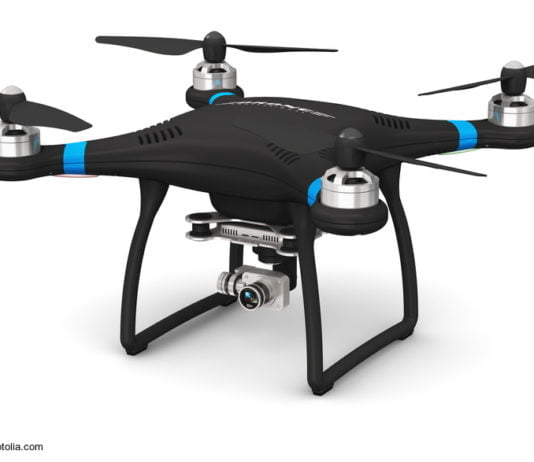 Quadcopter drone kun 4K-video kaj fotokamera